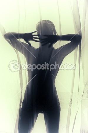 Diffuse human female silhouette by netfalls - Foto de Stock
