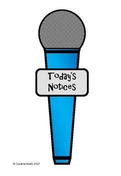 Microphone for your students to use during 'daily notices' time.Simply print, cut and laminate.I have a large set of microphone templates (black/white and colour) for only $1.   CLICK HERE to view.***************************************************************  Suzanne Welch Teaching ResourcesTpT credits Earn TpT credits by providing feedback on this product after you purchase it.