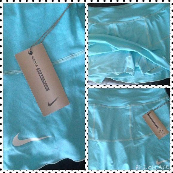 Nike Tiffany blue tennis skirt. Maria Sharapova s Nike women's tennis/ run skirt with booty shorts/ briefs attached. Fitted through waist and hips, flirty bottom. Beautiful aqua, turquoise. Size small Nike Shorts Skorts