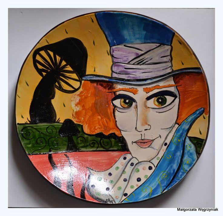 Szalony Kapelusznik Polandhandmade.pl www.facebook.com/Malgorzata.E.Wegrzyniak #ceramic #ceramika #pottery #plates # aliceinwonderland