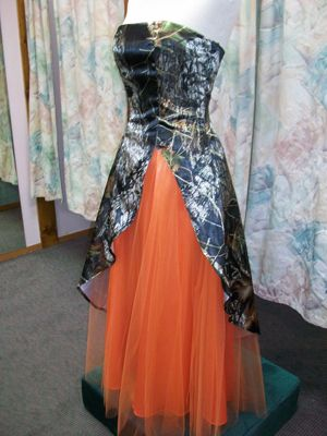'Bella' Custom Camo Prom Dress with Split Front with Tulle Skirt - only three will be made & sold.