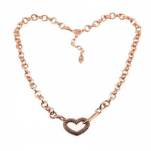 Stijlvolle, romantische halsketting, Roos goudkleurig met witte steentjes.Lengte: Verstelbaar 46cm tot 51cm.
