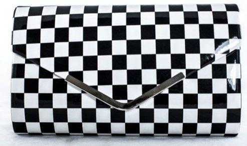 Koko Patent Black White Chequered Clutch Bag