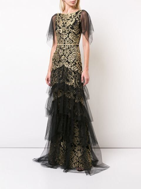 dfb2e6b38a0 Marchesa Notte Flutter Sleeve Metallic Embroidered Gown in 2019 ...