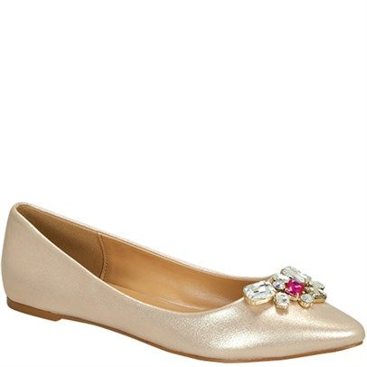 """Ozsale -  De Blossom Footwear:  Liam Champ Leather Flat - this pointed toe flat is made from stunning shimmering Vegan Leather & beautiful candy stone embellishments, it's perfect for day or night & would look darling paired w/frocks & party dresses. This comfortable pointed toe flat features a cushioned, lined inner sole & custom German outer sole. This flat shoe boasts a low .25"""" back heel for added stability.    Vegan Leather"""