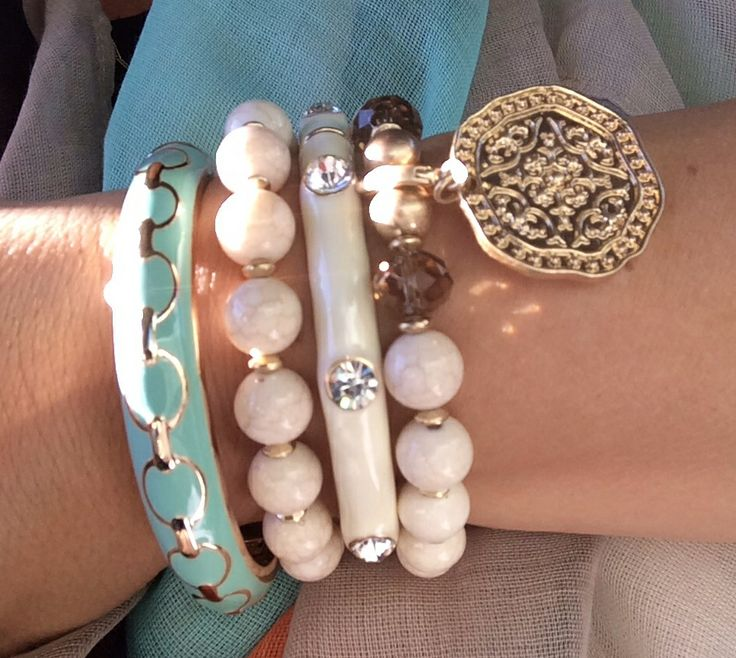 Lovin' all the color -- Pistachio bangle, Pompeii stretch bracelets, Creme Brulee bangle!  #PremierDesigns Spring 2014