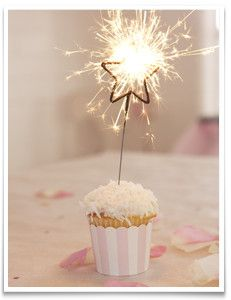 Sparkling Star Birthday Candles. Miniature gold star-shaped sparkers attached to metal skewers.