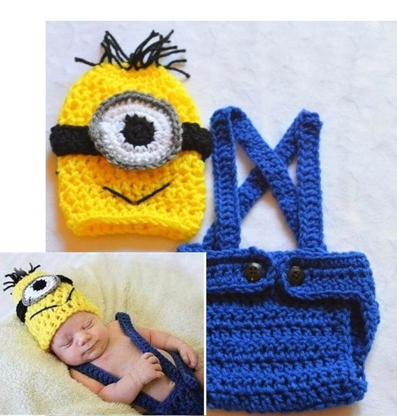 Baby Boy Crochet Minion Outfit. Minion Costume. by ChildishDreams