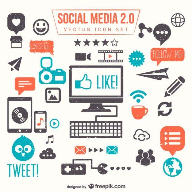 Mídia social conjunto 2.0 vector Vetor grátis