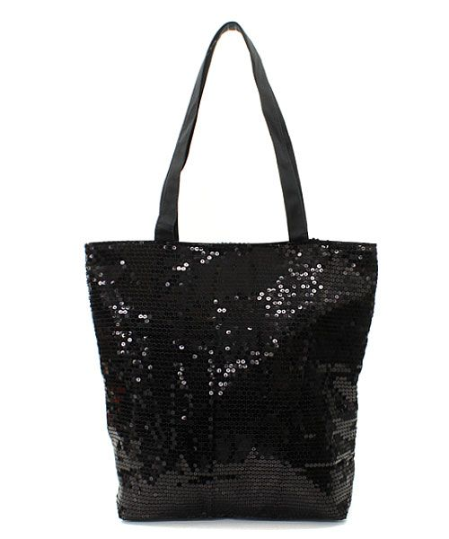 Sequined Tote in Black Sequins