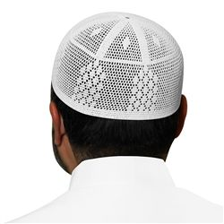 White Cotton Knitted Kufi with Muslim Prayer Mens Skull Cap - 21 inch