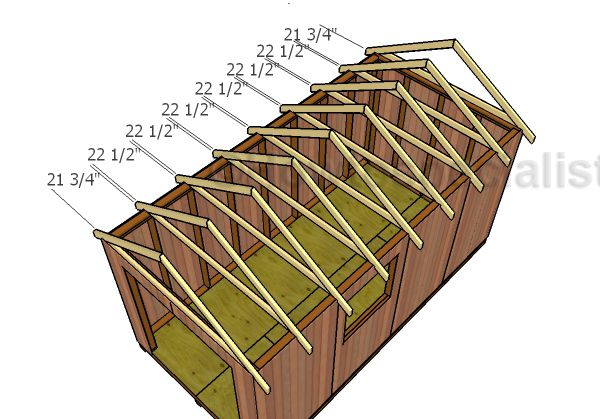 8x16 Gable Shed Roof Plans Howtospecialist How To Build Step By Step Diy Plans Shed Roof Gable Roof Design Roof Truss Design