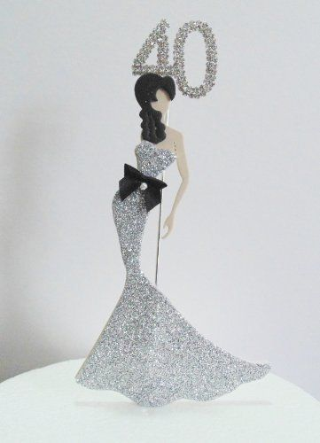 40th Birthday Cake Topper. Glamorous Lady in a Silver Dress and Diamante Number (Non Edible) by Perfect Bows, http://www.amazon.co.uk/dp/B00GV8M0EO/ref=cm_sw_r_pi_dp_hilMtb16FYAWK