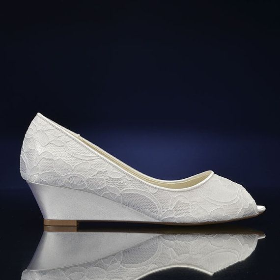 Lovely Lace Wedding Wedge This shoe is perfect for: -Outdoor Weddings -Comfort Heel 1 3/4 COLOR CHOICE: White/Shown Choose your color - over 200