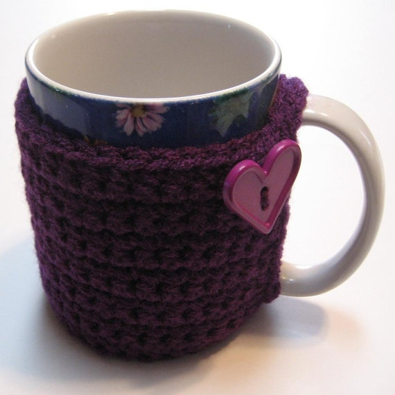 Crochet Coffee Cup Cozy Purple Ready to by ThoughtfulStitches, $10.00