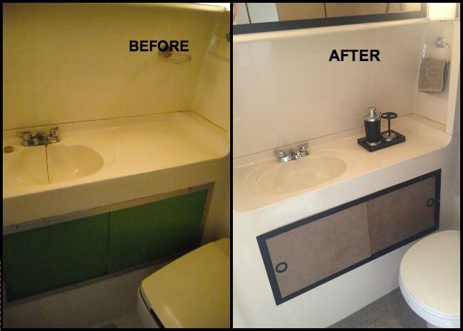 GMC Motorhome / RV / Bathroom / Wet Bath / New Toilet   Upholstered The  Green