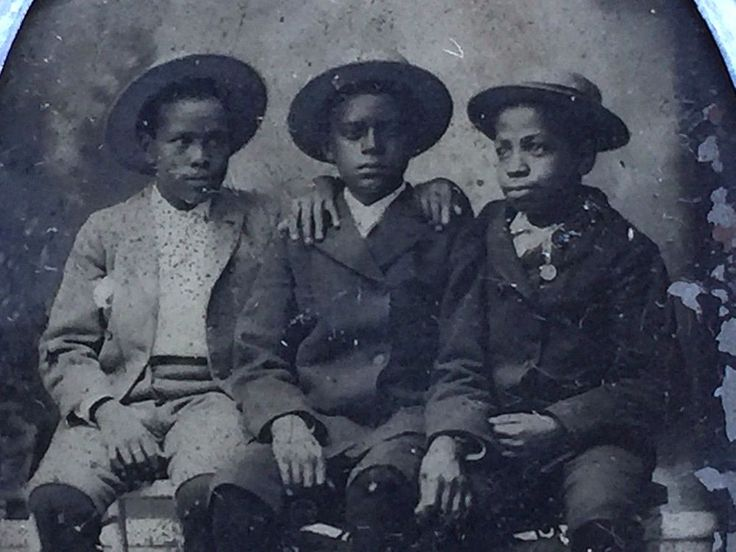 c 1883 TINTYPE Photo Handsome YOUNG Black Boys AFRICAN AMERICAN Interest Metal
