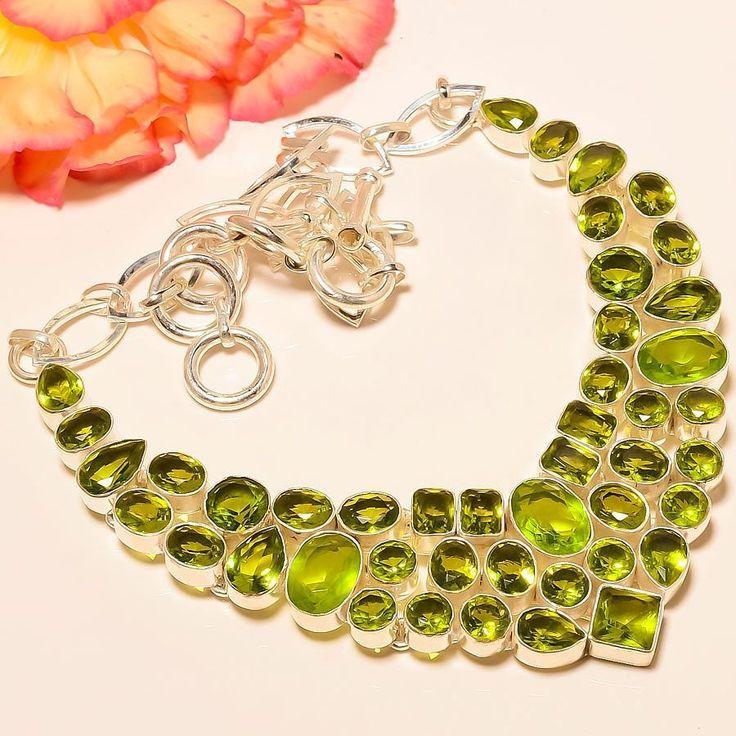 """Peridot 925 Sterling Silver Jewelry Necklace 18"""" #Handmade #Choker"""