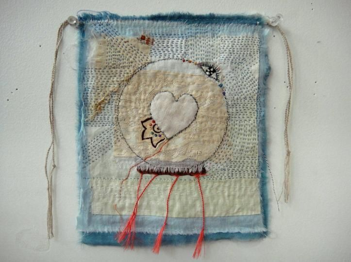 """Vision - """"a small cloth (a study for a larger one). hand stitched. linen ,cotton, silk fringe. hand embroidered details. hand dyed indigo back, ties for hanging. By Jude Hill. http://spiritcloth.typepad.com/"""