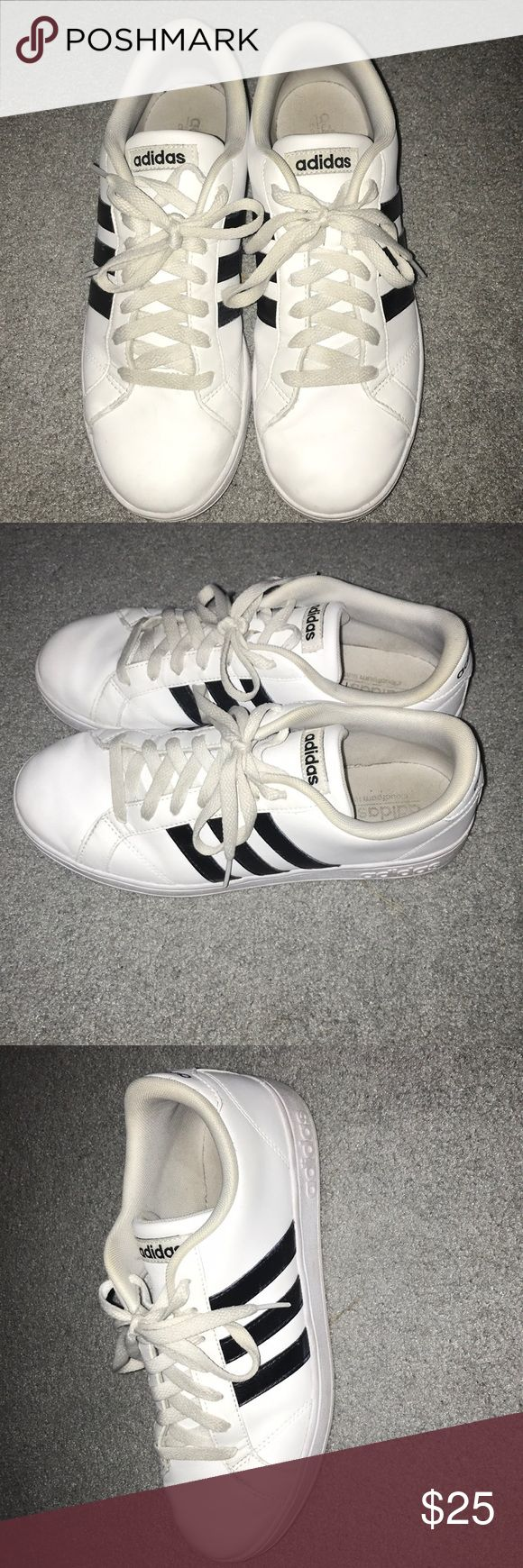 Adidas NEO Baseline Women's Athletic Shoes White shoes with 3 black stripes on each side. In  condition, only wore twice. adidas Shoes Athletic Shoes