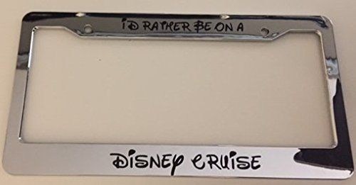I'd Rather Be On A #Disney #Cruise #Cursive - #Chrome #Automotive #License #Plate #Frame These are hand made, weeded with a 7 year graded vinyl decal then applied on the #license #plate #frame Customize your car with our #license #plate frames. Fits u.s & canada. https://travel.boutiquecloset.com/product/id-rather-be-on-a-disney-cruise-cursive-chrome-automotive-license-plate-frame/