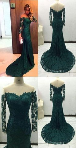 152.00 Sexy Green Mermaid Long Sleeves Off the Shoulder Prom Dresses 2018  Laceproducts id (1000075476 or 1000075309 or 1000075170 or 1000074415 or ... c9cee2d3f318