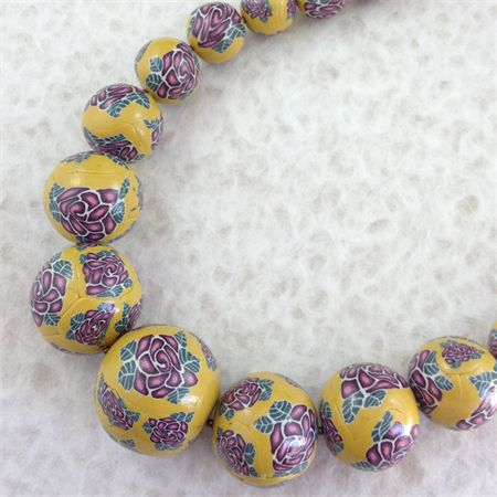 Lilac Roses Clay Beads Long Necklace