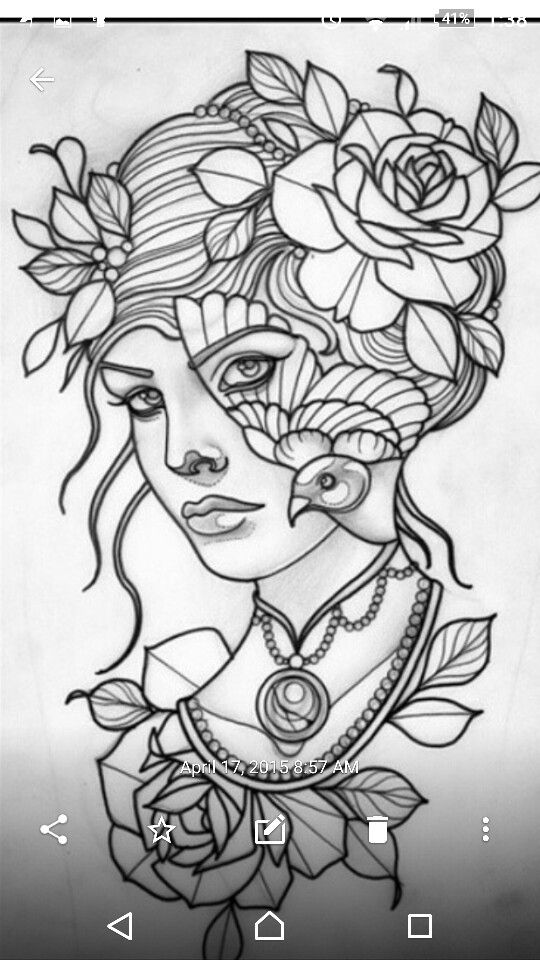 Traditional Tattoo Rose Coloring Pages