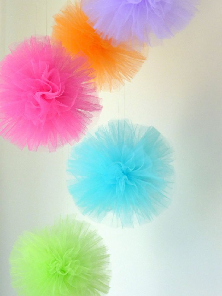 "SUPER Tulle Hanging Poms - 5 - 8"" Poms - wedding, decoration, birthday, party, bridal shower, pom poms, tulle, summer, rainbow, girls. $32.00, via Etsy."