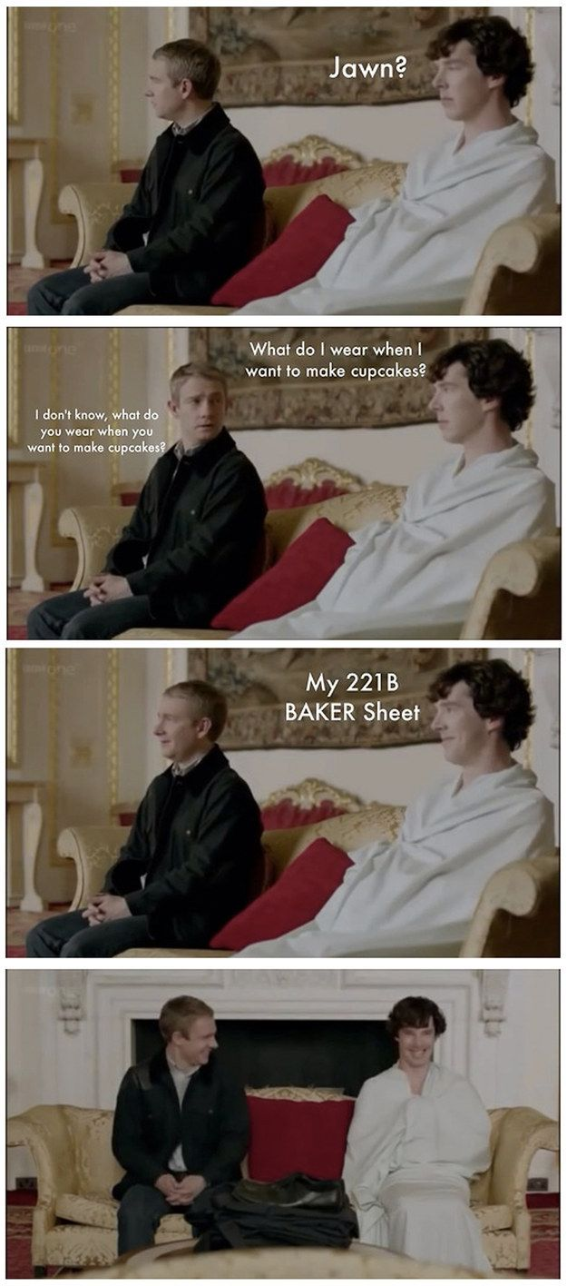 """The real reason why Sherlock and John were giggling like school girls.   33 """"Sherlock"""" Puns That Will Tickle Your Punny Bone"""