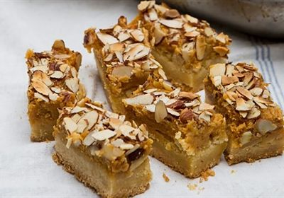 Caramel and almond slice