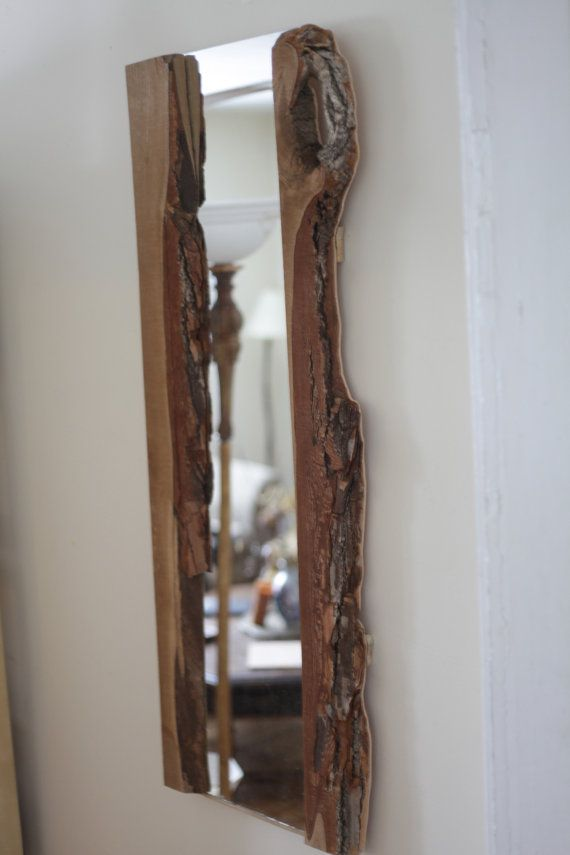 Natural Raw Edge Handmade Wooden Full Length Mirror By