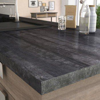 Plan de travail stratifié New vintage wood noir Mat L.315 x P.65 cm, Ep.38 mm   Leroy Merlin