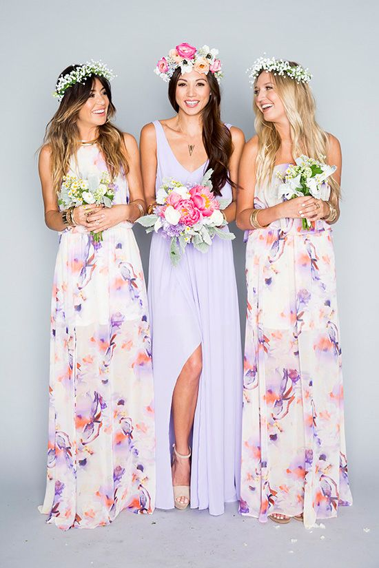 The Mumu Wedding Collection Purple Fl Bridesmaid Dressesmumu
