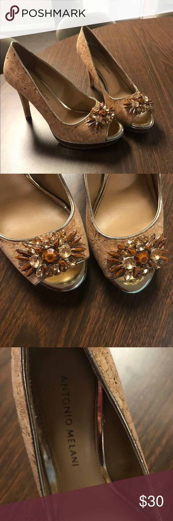 Antonio Melani cork jewel heels In good condition has no scratches besides a few on the heel as seen in pictures ANTONIO MELANI Shoes Heels