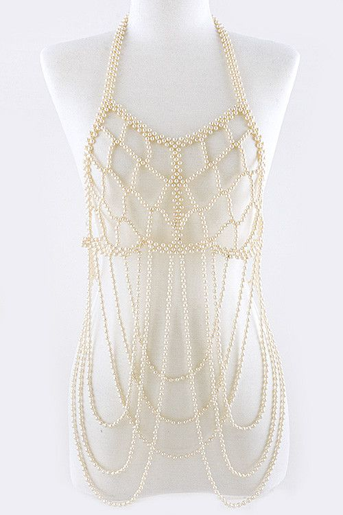 PEARL BALL ENCRUSTED TIERED BODY CHAIN