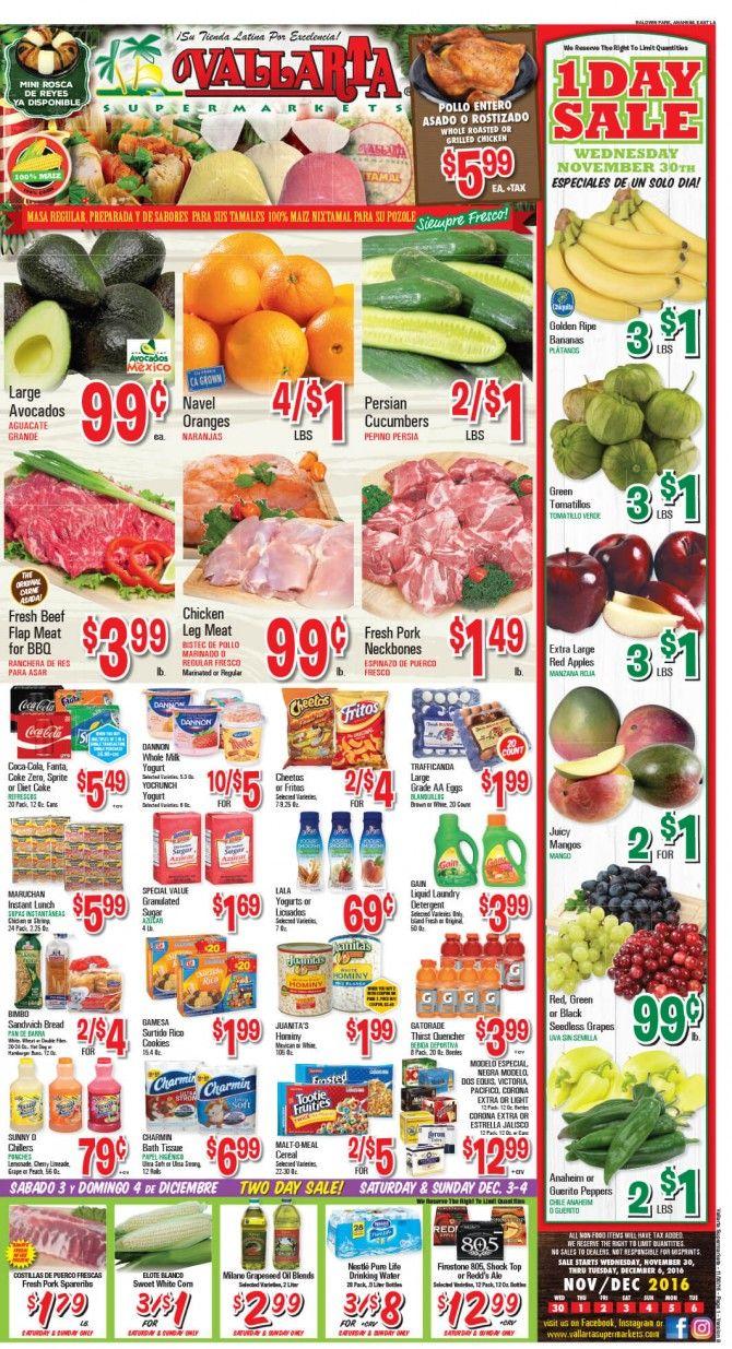 Vallarta Weekly Ad Flyer November 30 - December 6, 2016 - http://www.olcatalog.com/grocery/vallarta-weekly-ad-fleyer.html