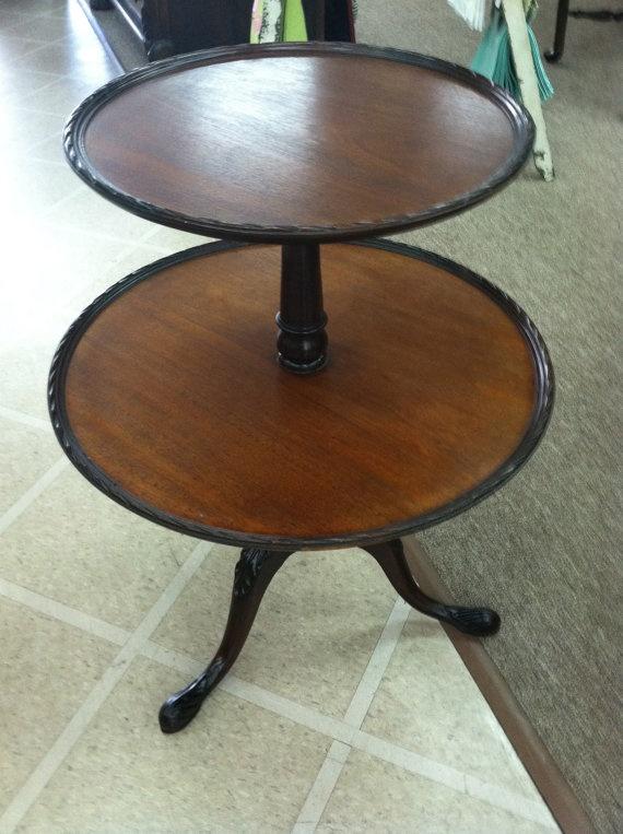 Beautiful Vintage Mahogany 2 Tiered Round Pie Crust Table Circa 1940.  $295.00, Via Etsy