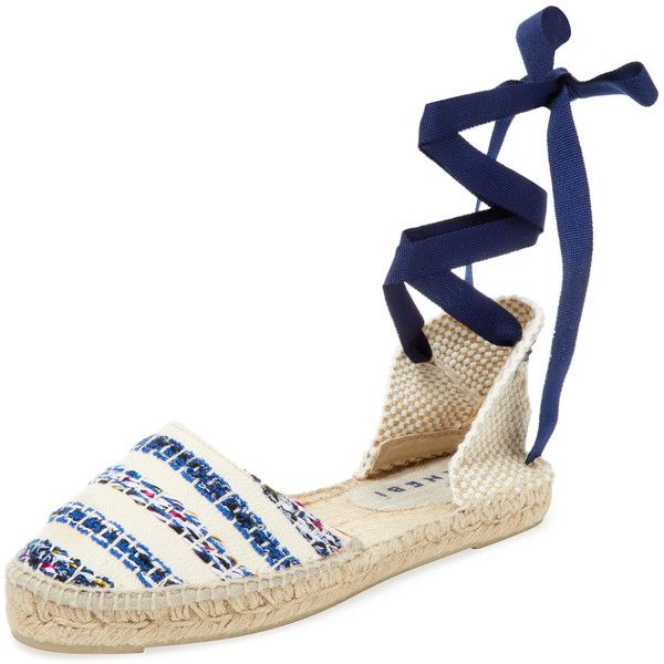 Manebi Women's Cotton Stripe Espadrille Sandal - Navy, Size 37 ($65) ❤ liked on Polyvore featuring shoes, sandals, navy, navy espadrilles, navy ankle strap sandals, navy flat sandals, ankle wrap sandals and navy blue sandals