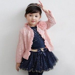 Girls Pink Coat, T-shirt & Skirt 3pcs Party Set Suit