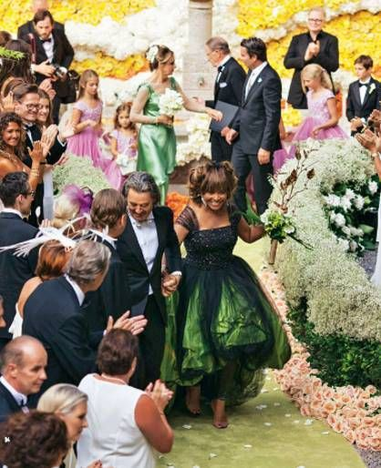 Tina Turner wore a non traditional, Giorgio Armani designed green taffeta and black silk tulle gown for her wedding to husband, Erwin Bach.