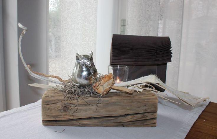 He64 Alter Holzblock Als Tischdekoration Altes Holz Behandelt