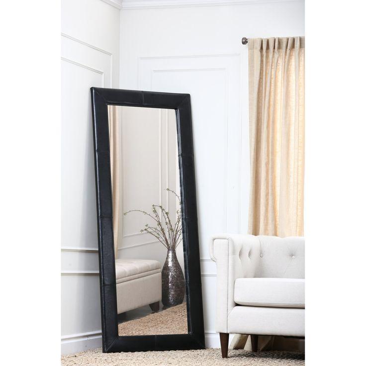 Large Leather Floor Mirror - Black - 31W x 70H in. - HS-MIR-300-BLK