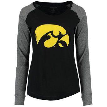 Iowa Hawkeyes Women's Black Gray Preppy Elbow Patch Slub Long Sleeve T-Shirt #hawkeyes #iowa