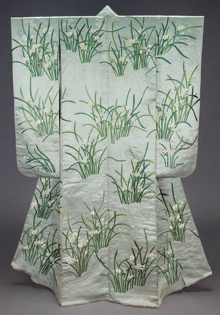 "Furisode (long-sleeved kimono), 19th century, Japan. ""Long-sleeved light blue silk satin robe (furisode) with design of sprays of narcissus and lines suggesting water embroidered with green, white and yellow silk."" MFA. (William Sturgis Bigelow Collection)"
