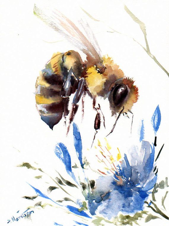 Bee and Blue Flower Original watercolor painting by ORIGINALONLY, $24.00