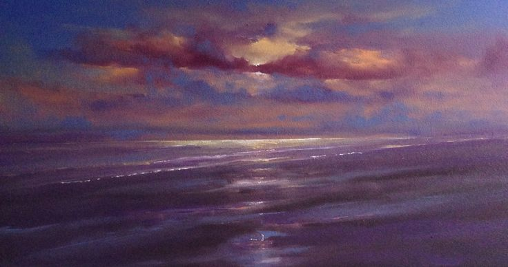 Holkham Sunset. Oil on board by Dan Wellington