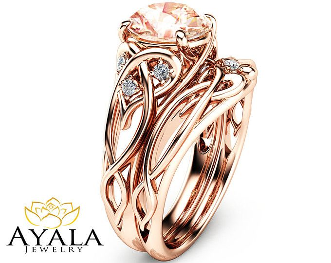 Set de 2 quilates puro anillos 14K anillo de oro rosa únicos anillos de compromiso oro rosa morganita anillos