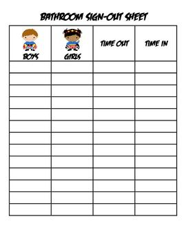 Superhero Bathroom Sign Out Sheet