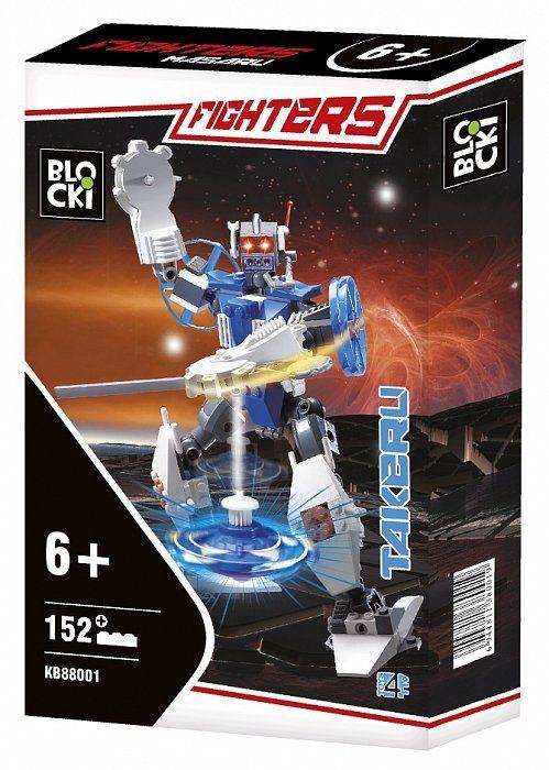 Zestaw składa się z 152 elementów i umożliwia zbudowanie robota bojowego TAKERU z wyrzutnią dysków.   Zabawka dla dzieci w wieku od 6 lat.